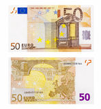 Fifty euro note. Front and back side of fifty euro note stock photos