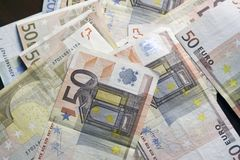 Fifty euro notes background Stock Images