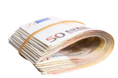 Fifty euro notes bend Stock Photo