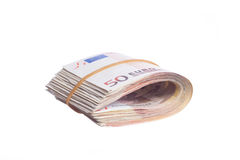 Fifty euro notes bend. Isolated on white background Stock Images