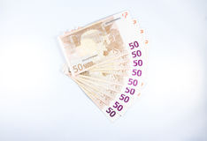 Fifty €50 Euro notes fanned out. Stock Images