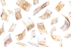 Fifty euro notes flying Stock Photography