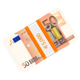 Fifty euro pack. Fifty euro banknotes pack on a white background Stock Photo