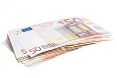 Fifty euro pile Stock Photos