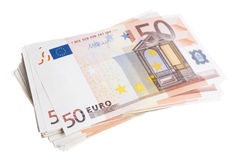 Fifty euro pile Stock Image