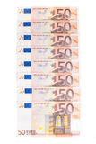 Fifty euro row Stock Photos