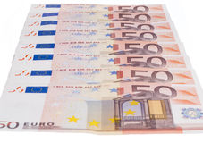 Fifty euro row Royalty Free Stock Photos