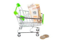 Fifty euro in the shopping pushcart, isolated. On white Stock Images