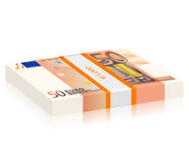 Fifty euro stack. Fifty euro banknotes stack on a white background Stock Photos