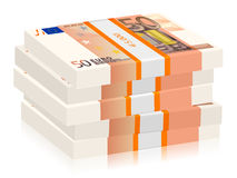 Fifty euro stacks. Fifty euro banknotes stacks on a white background Royalty Free Stock Image