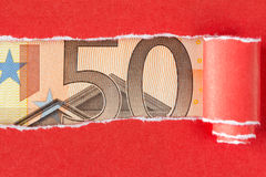 Fifty Euro in torn  paper frame Stock Photography