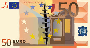 Fifty euro. A vector illustration with fifty euro banknote Stock Photography