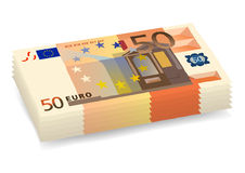 Fifty euro. Vector illustration with drawing money from fifty euro Stock Image