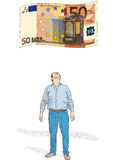 Fifty euro. Vector illustration with drawing money from fifty euro Royalty Free Stock Photos