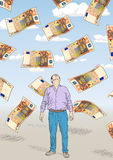 Fifty euro. Vector illustration with drawing money from fifty euro Stock Images