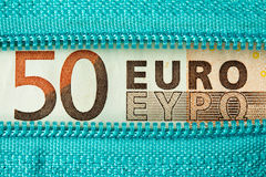 Fifty Euro and zipper Royalty Free Stock Photos