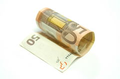 Fifty Euros. 50 Euros bill on white background stock images