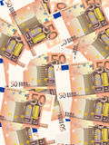 Fifty euros background vertical. Background from a fifty euro banknotes Royalty Free Stock Image
