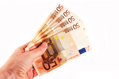 Fifty euros in hand Royalty Free Stock Image