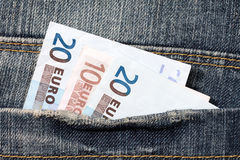 Fifty euros  in the jeans pocket Stock Photography