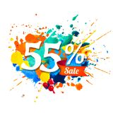 55 percents sale. Splash paint. Fifty five percents sale. Vector splash paint vector illustration