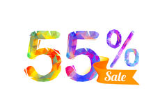 55 fifty five percents sale. Vector triangular digits stock illustration