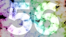 Fifty five to fifty six years birthday fade in/out animation with color gradient moving bokeh background. Animation: 90 frames still with number, 180 fade out stock illustration