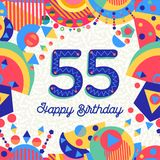 55 fifty five year birthday party greeting card. Happy Birthday fifty five 55 year fun design with number, text label and colorful decoration. Ideal for party royalty free illustration