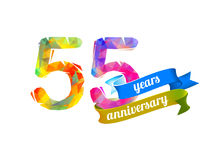 55 fifty five years anniversary. Vector triangular digits royalty free illustration