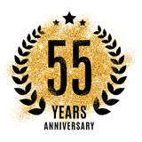 Fifty-five years golden anniversary. Fifty-five years golden 55 anniversary sign. Gold glitter celebration. Light bright symbol for event, invitation, award royalty free illustration