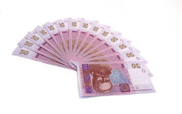 Fifty grivnas banknotes on white Stock Photo