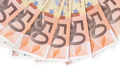 Fifty hundred euro banknotes in a row. Stock Images