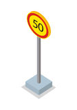 Fifty Kilometres Per Hour Speed Limit Sign Royalty Free Stock Photo