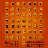 Fifty media Button set. Vector eps 10. Royalty Free Stock Photos