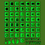 Fifty media buttons. Fifty vector buttons for media player design Stock Photography