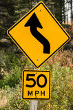 Fifty Mile Per Hour Curve Sign Royalty Free Stock Images