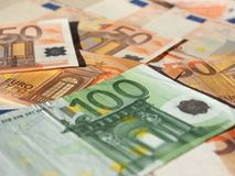 Euro notes, European Union. Fifty and One Hundred Euro banknotes money (EUR), currency of European Union Royalty Free Stock Photos