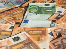 Euro notes, European Union. Fifty and One Hundred Euro banknotes money (EUR), currency of European Union Stock Photos