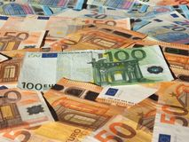 Euro notes, European Union. Fifty and One Hundred Euro banknotes money (EUR), currency of European Union Stock Photography