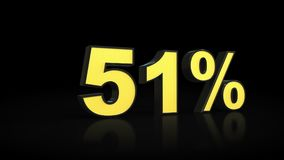 Fifty-one 51 % percent 3D rendering. Fifty-one 51 percent caption 3D rendering Royalty Free Stock Photo