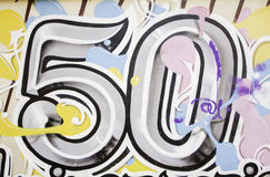 Fifty painted. Fifty urban wall painted in graffiti and symbol Royalty Free Stock Photos