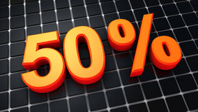 Fifty Percent. 3D-Rendering of fifty percent on dark background Royalty Free Stock Photos