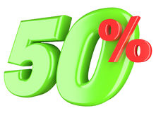 Fifty percent. 3d render illustration isolated on white background Royalty Free Stock Photo