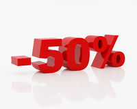 Fifty percent. High resolution image fifty  percent. 3d illustration over  white backgrounds Royalty Free Stock Images