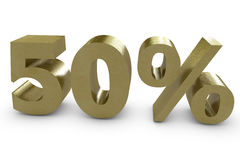 Fifty percent in 3d. Gold color Royalty Free Stock Photography