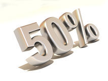 Fifty percent. 3d. Very beautiful three-dimensional illustration, figure Royalty Free Stock Images