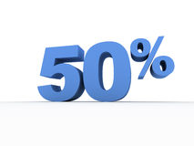 Fifty Percent. 3D Graphic of 50% against white background Stock Images