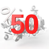 Fifty percent. 3d render illustration on white background Royalty Free Stock Photography