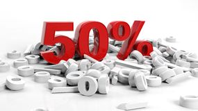 Fifty percent. 3D Rendering of a fifty percent symbol Stock Image