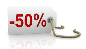 Fifty percent discount. White tag with fifty percent discount red lettering Stock Photos